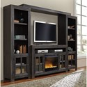 Signature Design by Ashley Gavelston Entertainment Wall Unit w/ Large TV Stand, Fireplace, Bridge, and Piers
