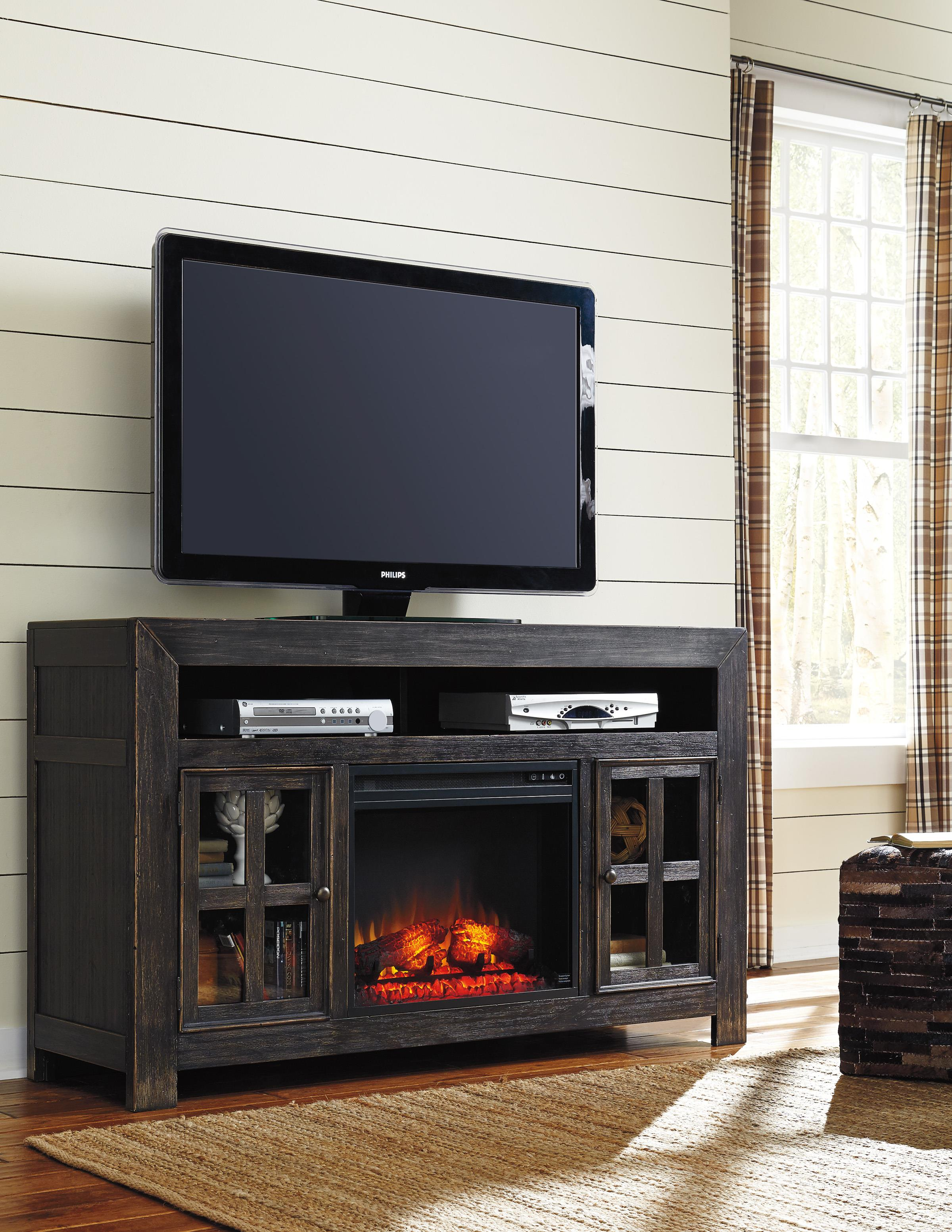 Signature Design By Ashley Gavelston Distressed Black Large Tv Stand With Electric Fireplace
