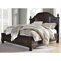 Signature Design by Ashley Gerlane King Solid Pine Wood Poster Bed w/ Platform Style Footboard