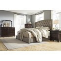 Signature Design by Ashley Gerlane Queen Upholstered Bed with Arched Tufted Headboard and Low Footboard