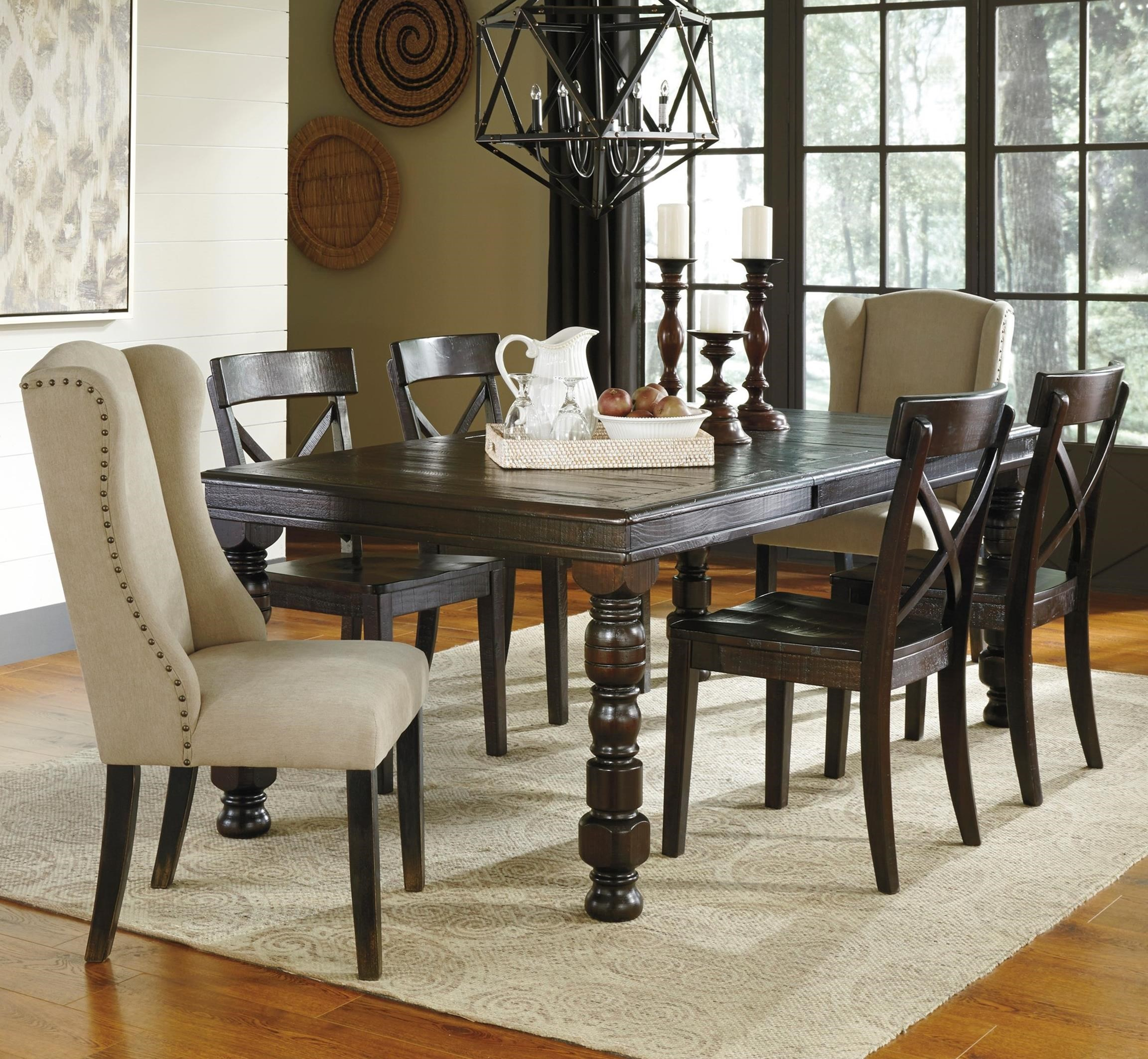 Signature Design by Ashley Gerlane 7-Piece Dining Table Set - Item Number: D657-32+2x02+4x01