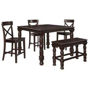 Signature Design by Ashley Gerlane 5-Piece Counter Table Set with Bench