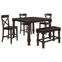 Signature Design by Ashley Gerlane 5-Piece Counter Table Set with Bench - Item Number: D657-32+3x124+09