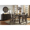 Signature Design by Ashley Gerlane 5-Piece Solid Pine Counter Table Set