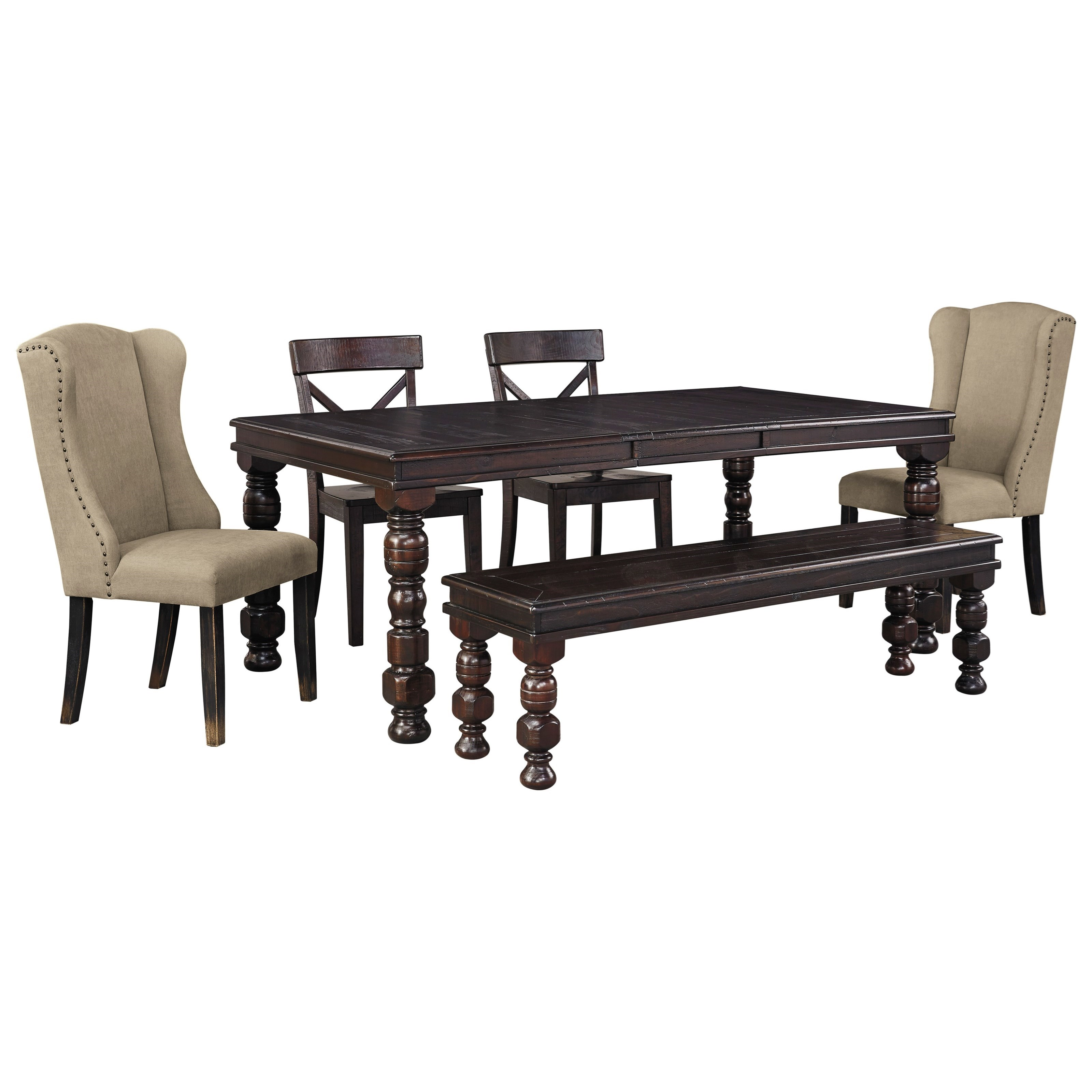 Signature Design by Ashley Gerlane 6-Piece Dining Table Set with Bench - Item Number: D657-35+2x02+2x01+00