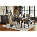 Signature Design by Ashley Gerlane 6-Piece Solid Pine Dining Table Set with Bench and Upholstered Chairs