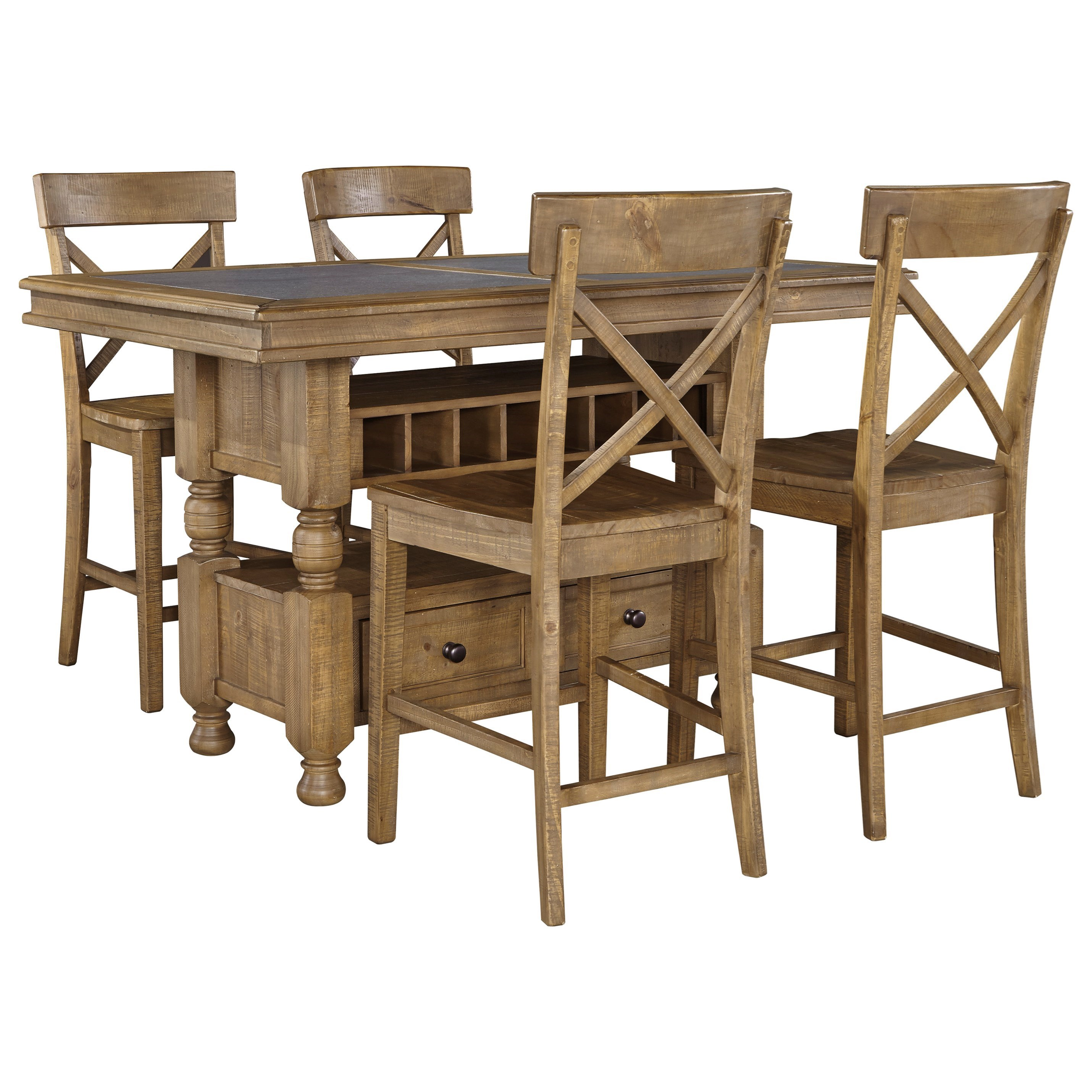 Signature Design by Ashley Trishley 5-Piece Counter Table w/ Storage Set - Item Number: D659-32+4x124