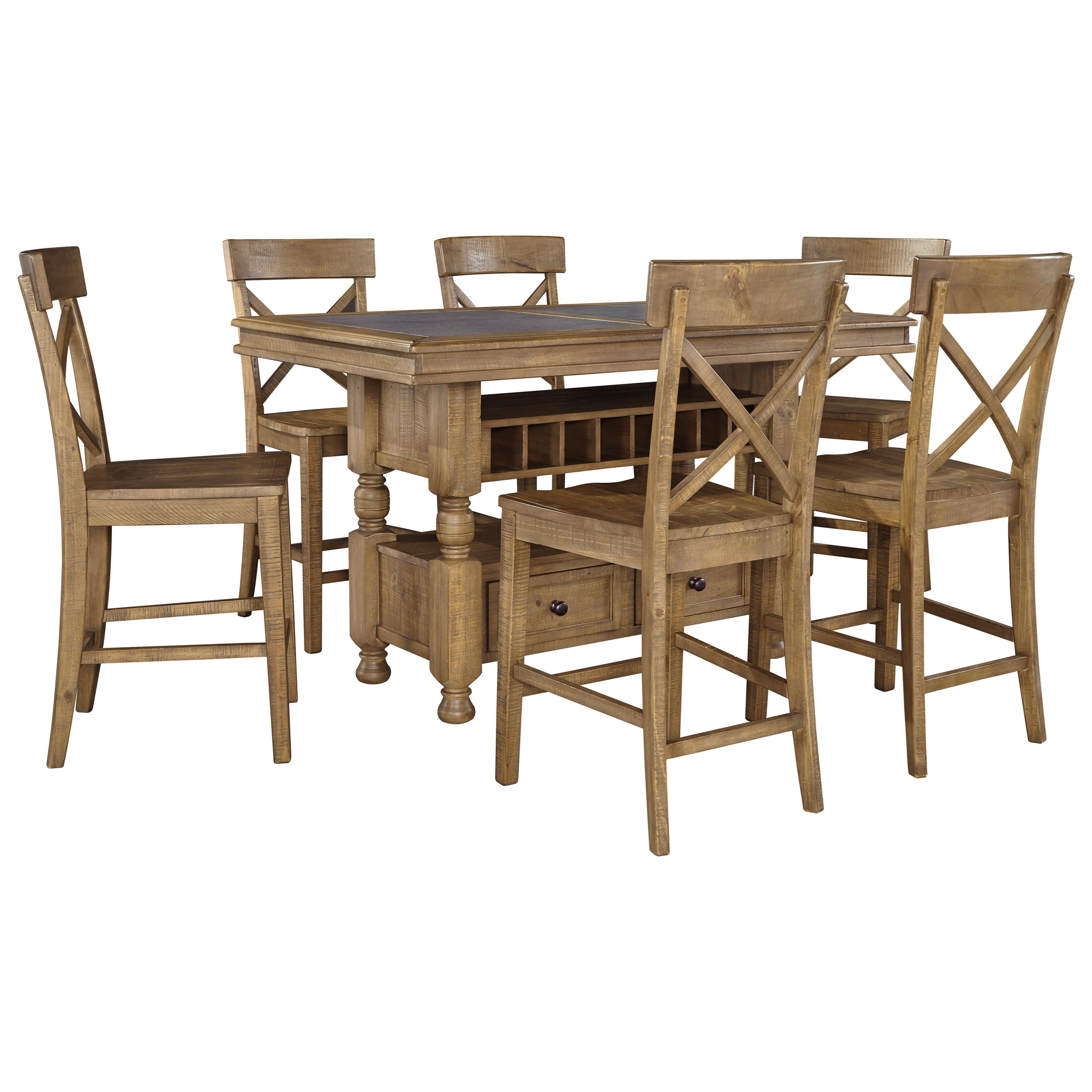 Signature Design by Ashley Trishley 7-Piece Counter Table w/ Storage Set - Item Number: D659-32+6x124