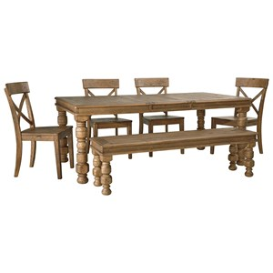 StyleLine Fresco 6-Piece Dining Table Set with Bench