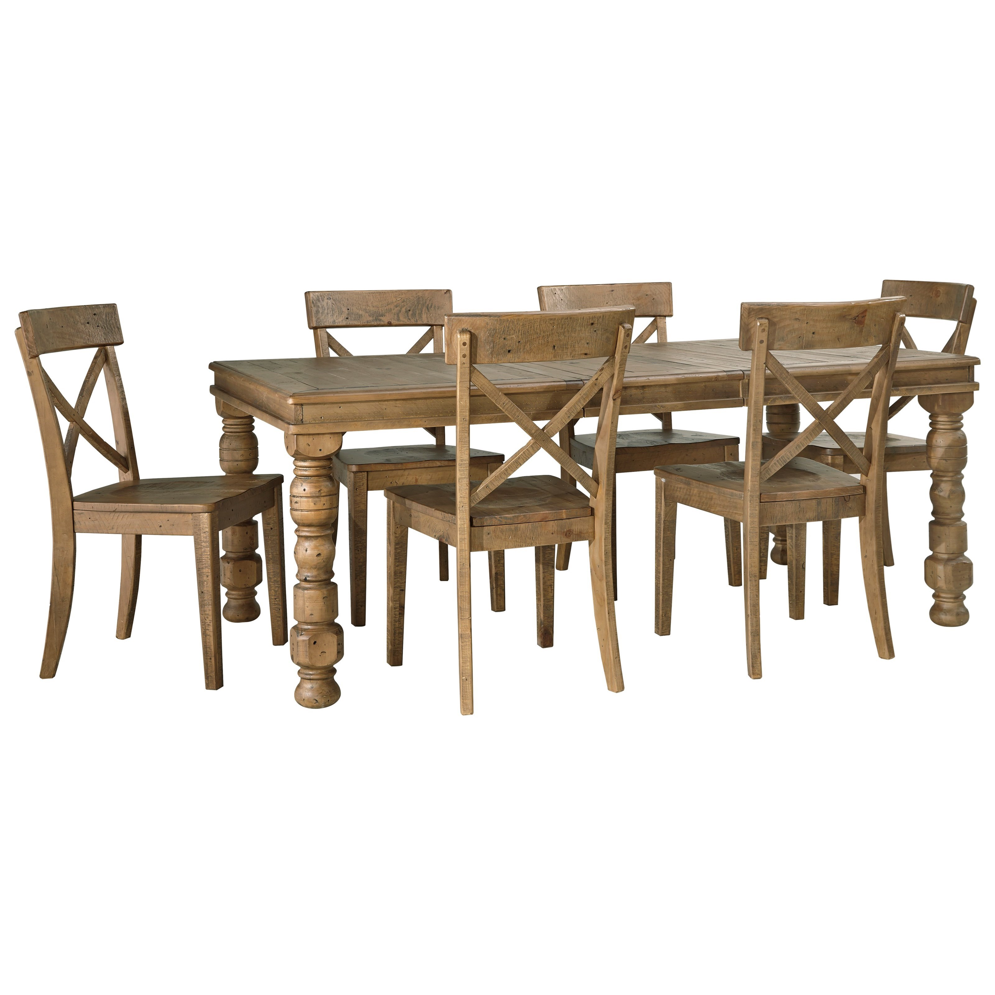 Signature design by ashley trishley 7 piece solid pine for 7 piece dining set with bench