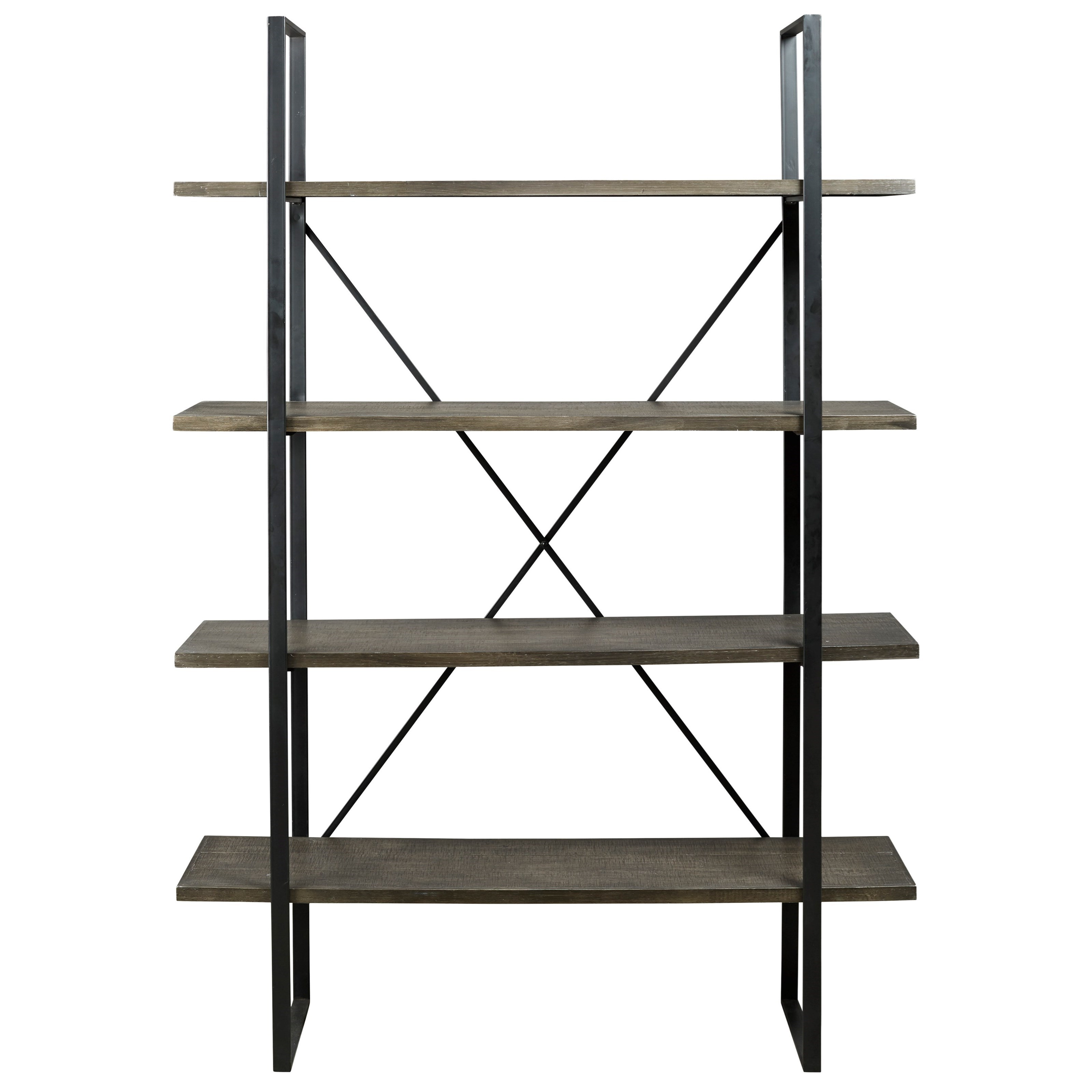 Gilesgrove Industrial Metal Wood Bookcase With 4 Shelves By Signature Design By Ashley At Household Furniture