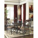 Signature Design by Ashley Glambrey Round Dining Room Table with Metal Accents