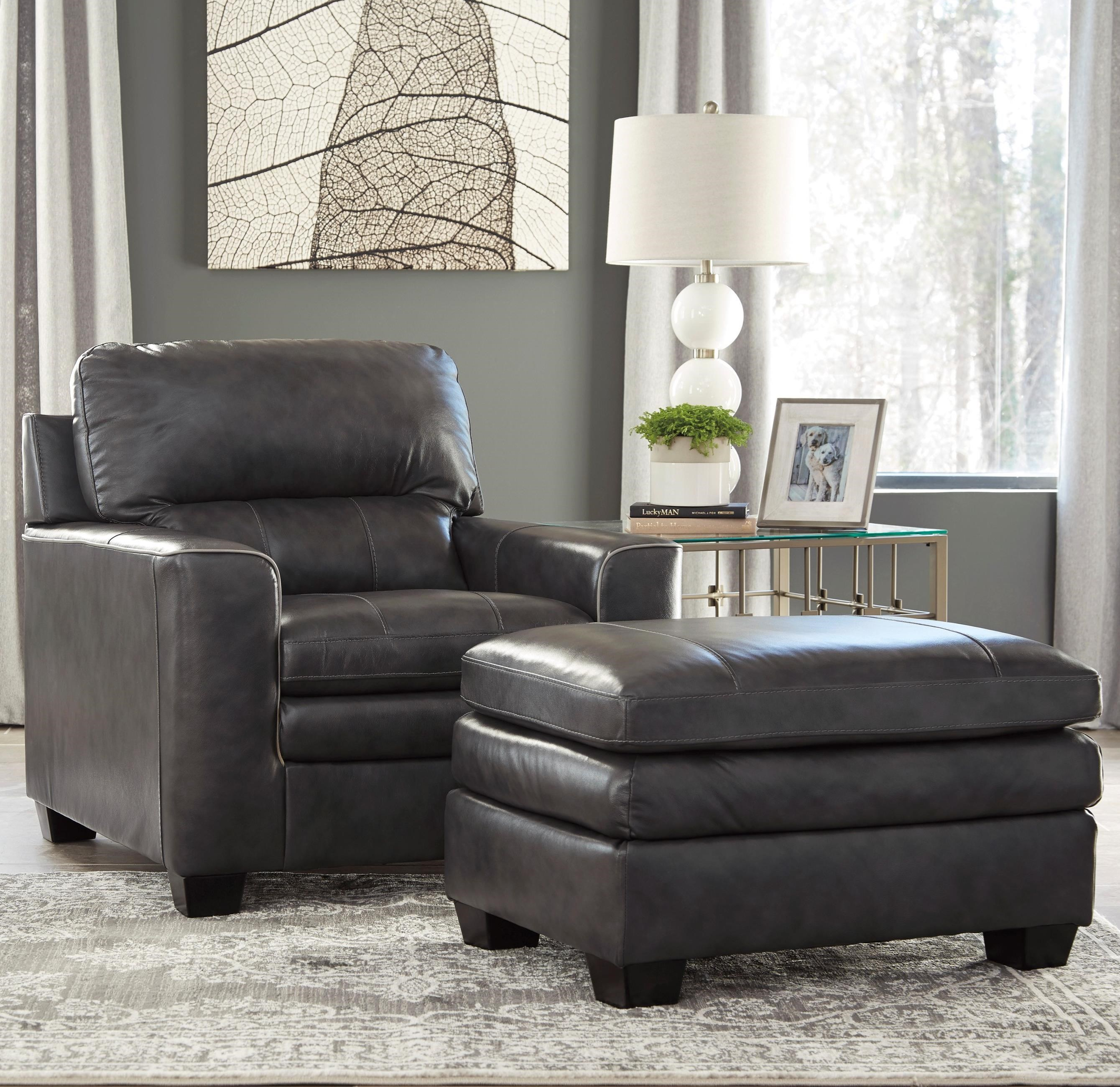 Signature Design by Ashley Gleason Chair & Ottoman - Item Number: 1570220+14