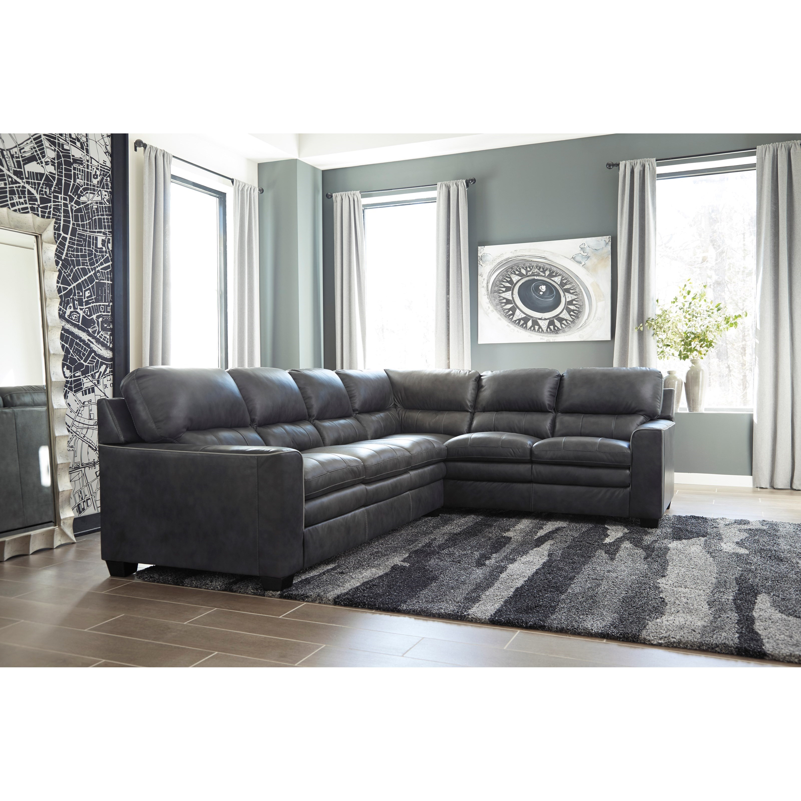Signature Design By Ashley Gleason Leather Match L Shape Sectional Dream Home Furniture