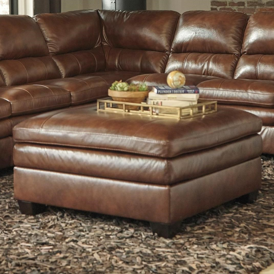 Signature Design By Ashley Gleason Leather Match Square Oversized Accent Ottoman Royal