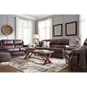 Signature Design by Ashley Glengary Wing Back Leather Match Queen Sofa Sleeper with Memory Foam Mattress