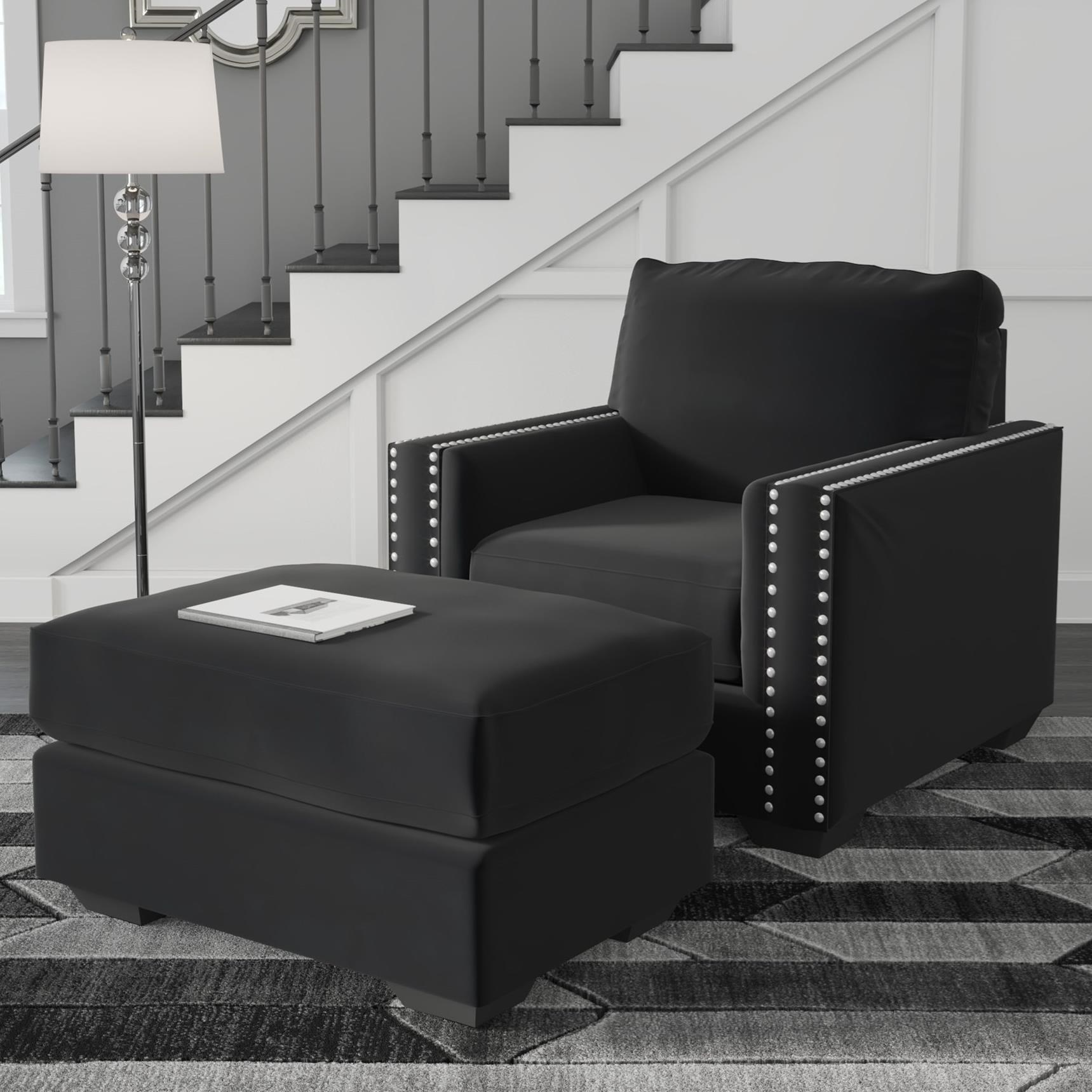 Gleston Chair & Ottoman by Signature at Walker's Furniture