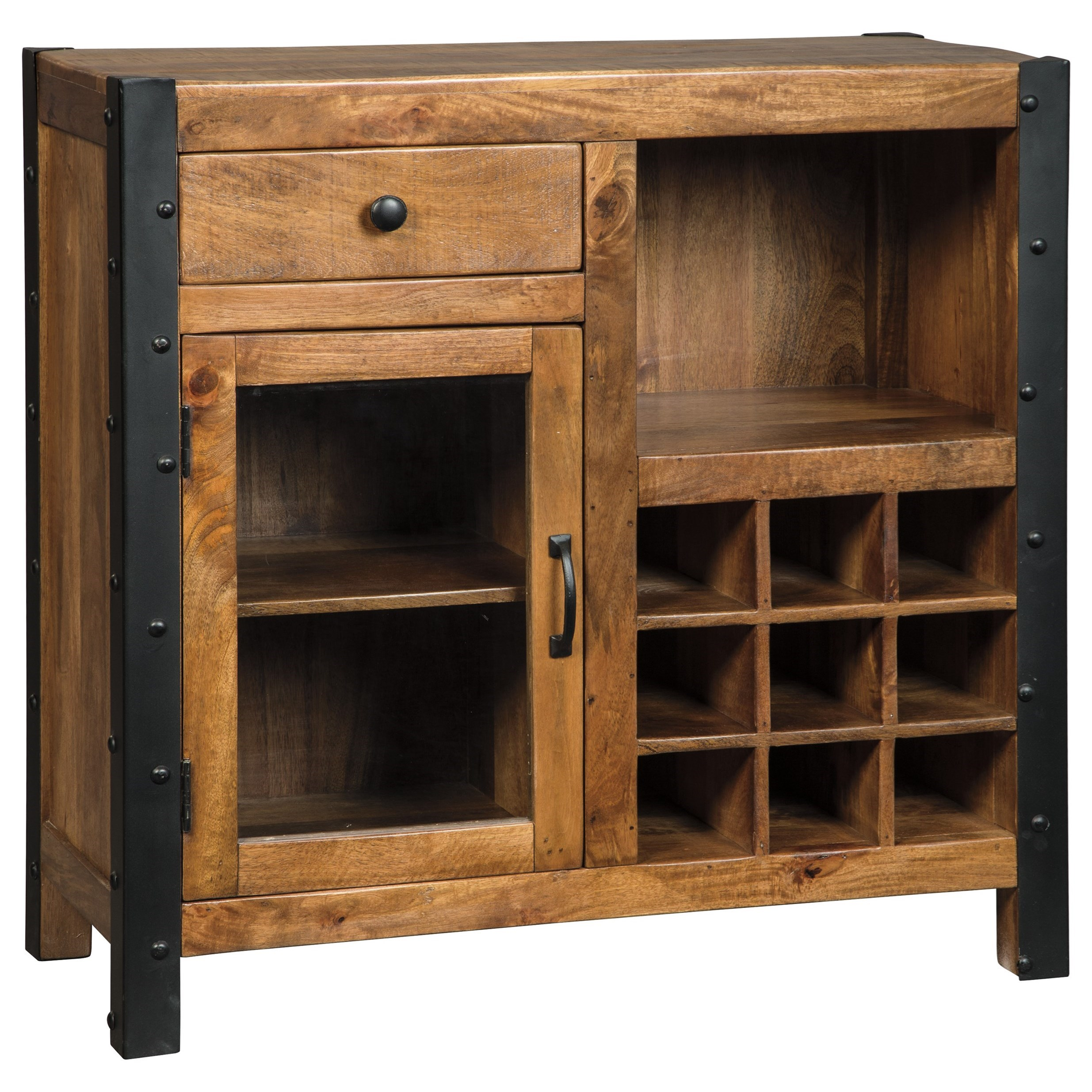 Signature Design By Ashley Glosco Solid Wood Mango Wine Cabinet With Industrial Metal Accents