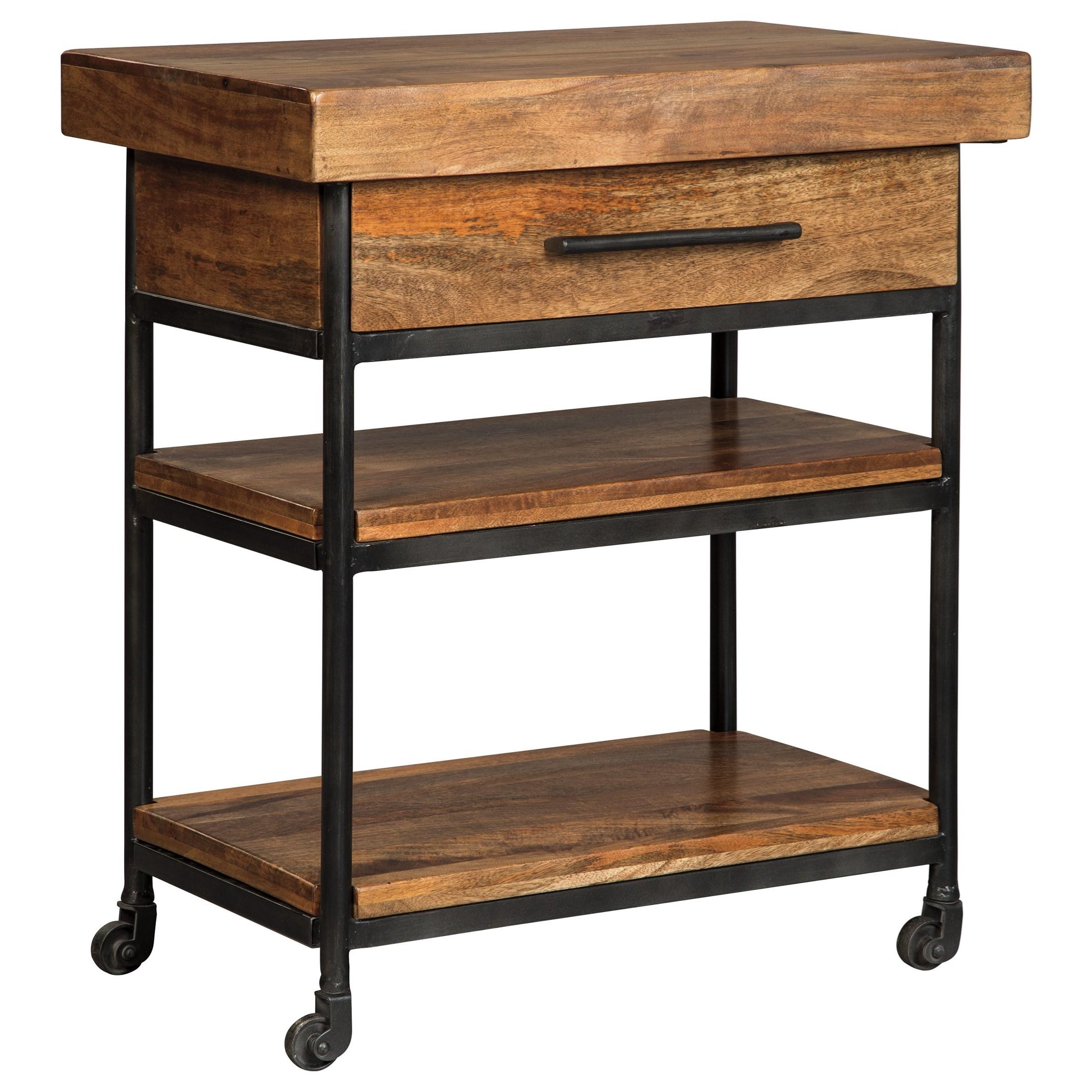 Signature Design By Ashley Glosco Solid Wood Metal Serving Cart Olinde 39 S Furniture Bar