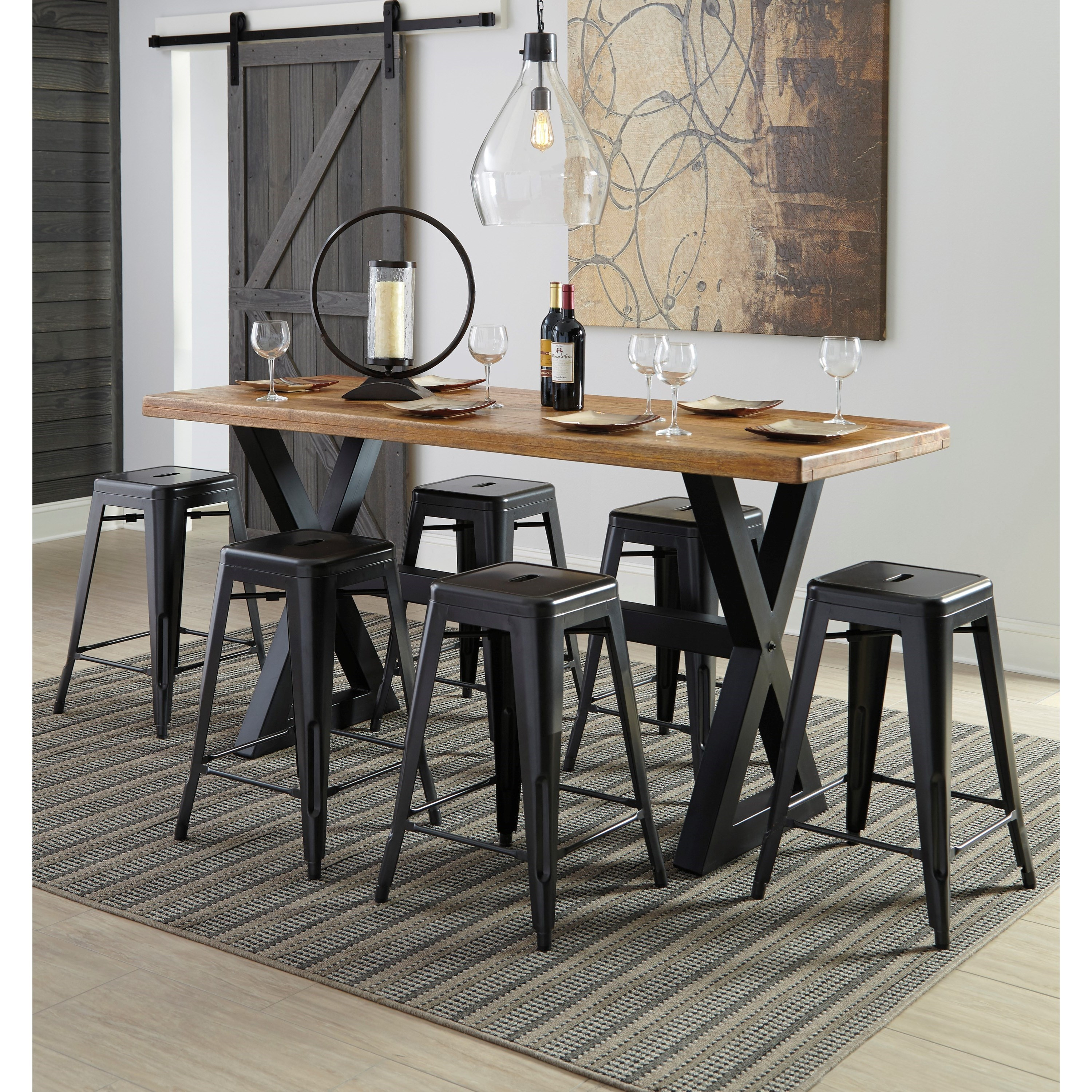 Signature Design by Ashley Glosco 7-Piece Rectangular Counter Table Set - Item Number: D548-13+6xD542-024