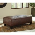 Signature Design by Ashley Goldstone Rectangular Faux Leather Oversized Accent Ottoman with Tufted Top