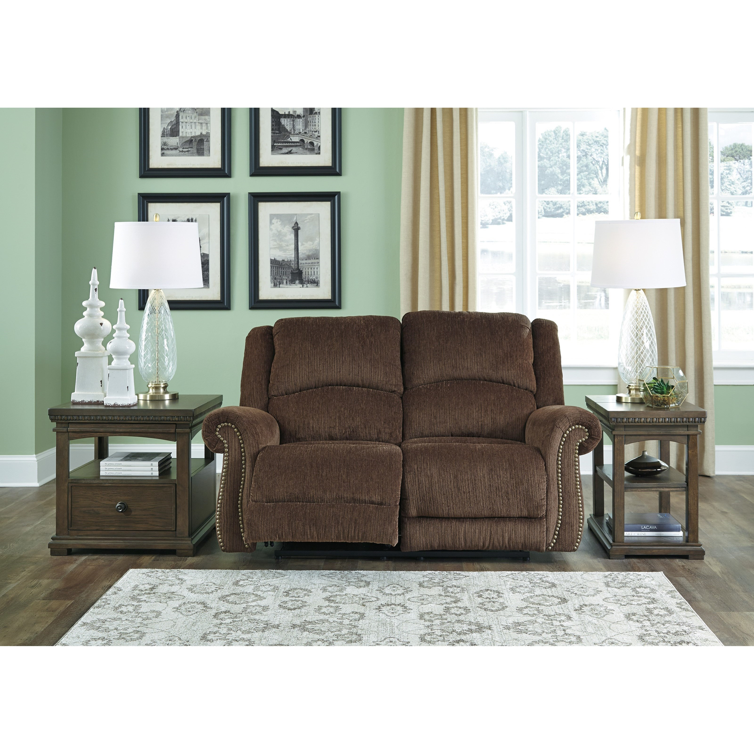 Signature Design By Ashley Goodlow Transitional Power Reclining Loveseat W Adj Headrests Usb