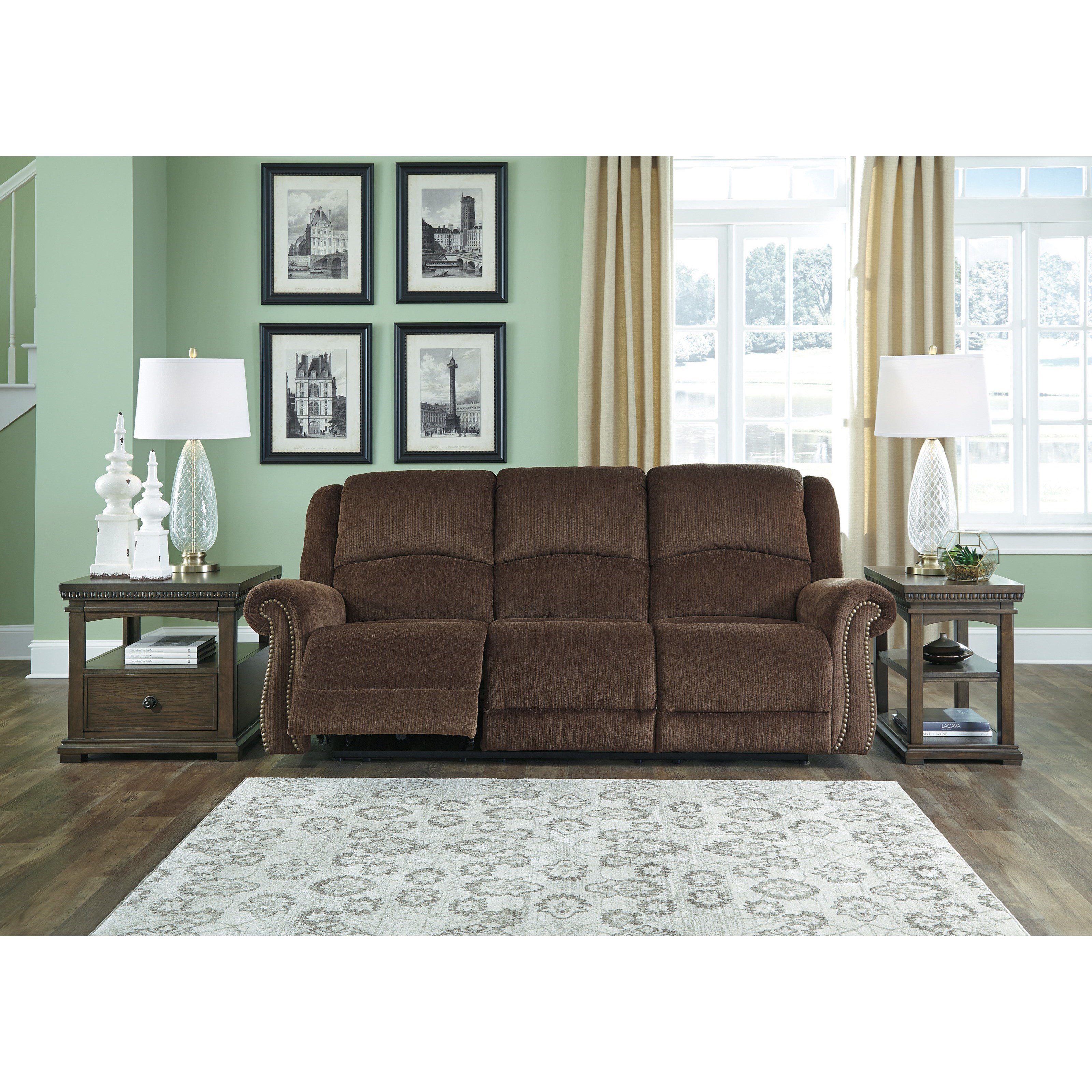 Signature Design By Ashley Goodlow 7900315 Transitional Power Reclining Sofa W Adjustable