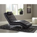 Signature Design by Ashley Goslar Contemporary Faux Leather Chaise with Headrest