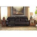 Signature Design by Ashley Graford Leather Match Power Reclining Sofa w/ Adjustable Headrest