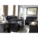Signature Design by Ashley Graford Leather Match Power Reclining Sofa w/ Adjustable Headrest