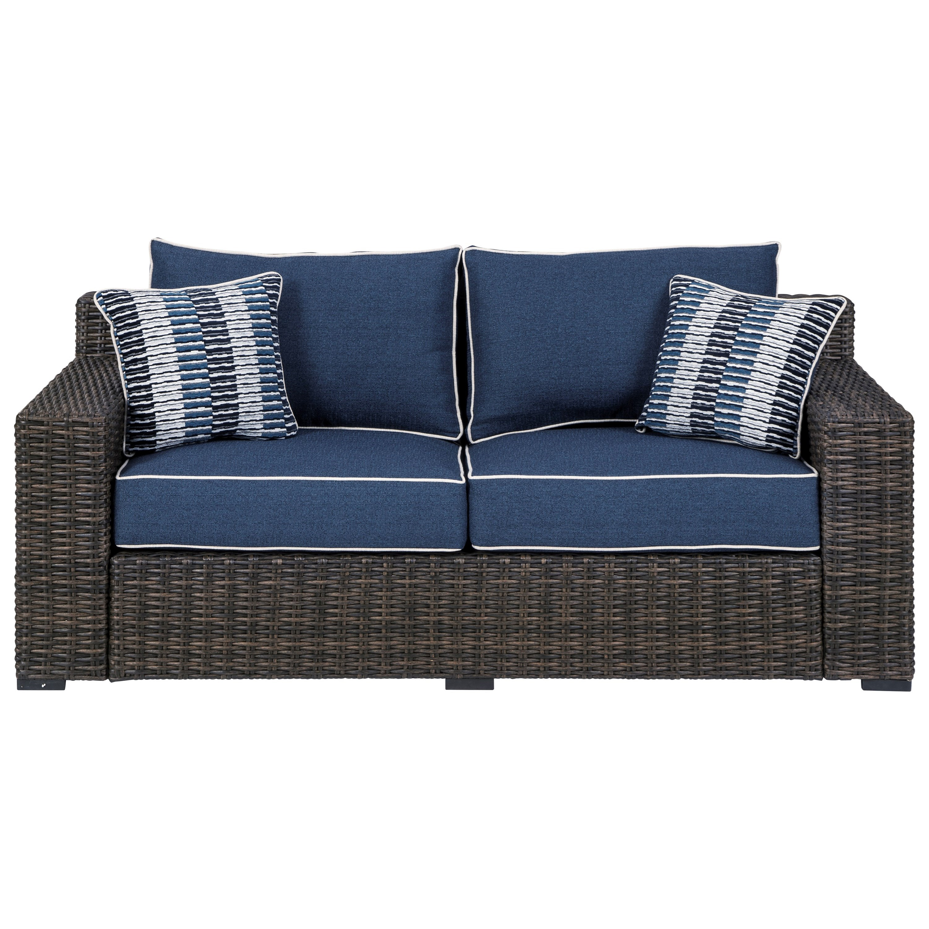 Ashley Signature Design Grasson Lane P783 835 Contemporary Loveseat With Cushion Dunk Bright Furniture Outdoor Loveseats