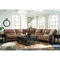 Signature Design by Ashley Grattis 6-Piece Power Reclining Sectional w/ Console in Brown Faux Leather