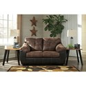 Signature Design by Ashley Gregale Two Tone Faux Leather Loveseat with Pillow Arms