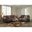 Signature Design by Ashley Gregale Brown/Dark Brown Faux Leather Loveseat with Pillow Arms