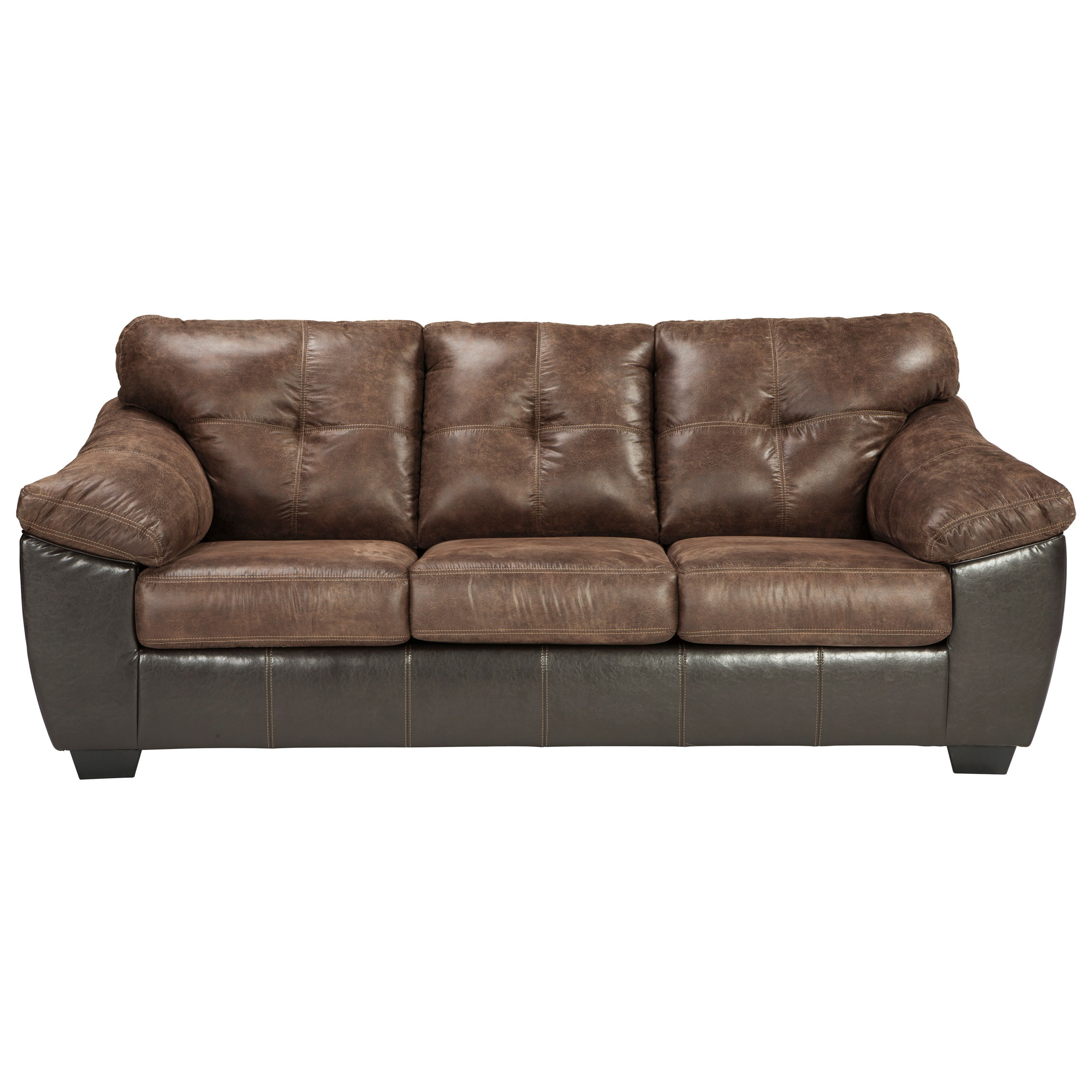 Benchcraft Gregale Brown Dark Brown Faux Leather Sofa With Pillow