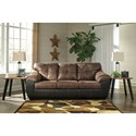 Signature Design by Ashley Gregale Two Tone Faux Leather Sofa with Pillow Arms