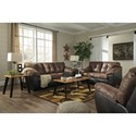 Signature Design by Ashley Gregale Two Tone Faux Leather Queen Sofa Sleeper with Memory Foam Mattress