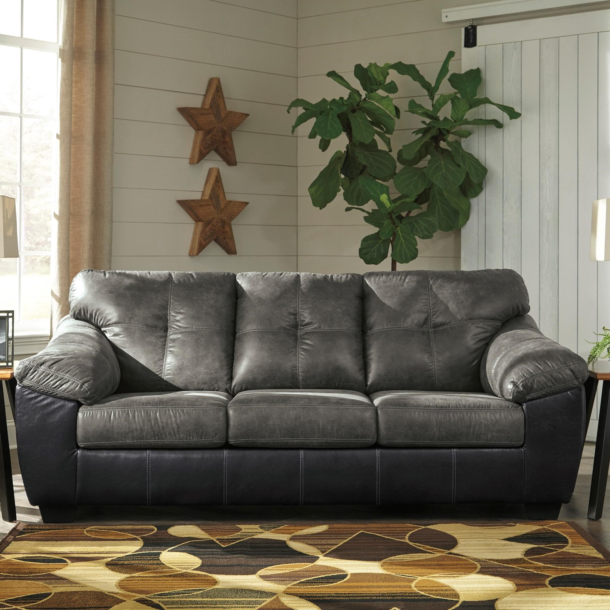 Benchcraft Gregale Two Tone Faux Leather Sofa With Pillow