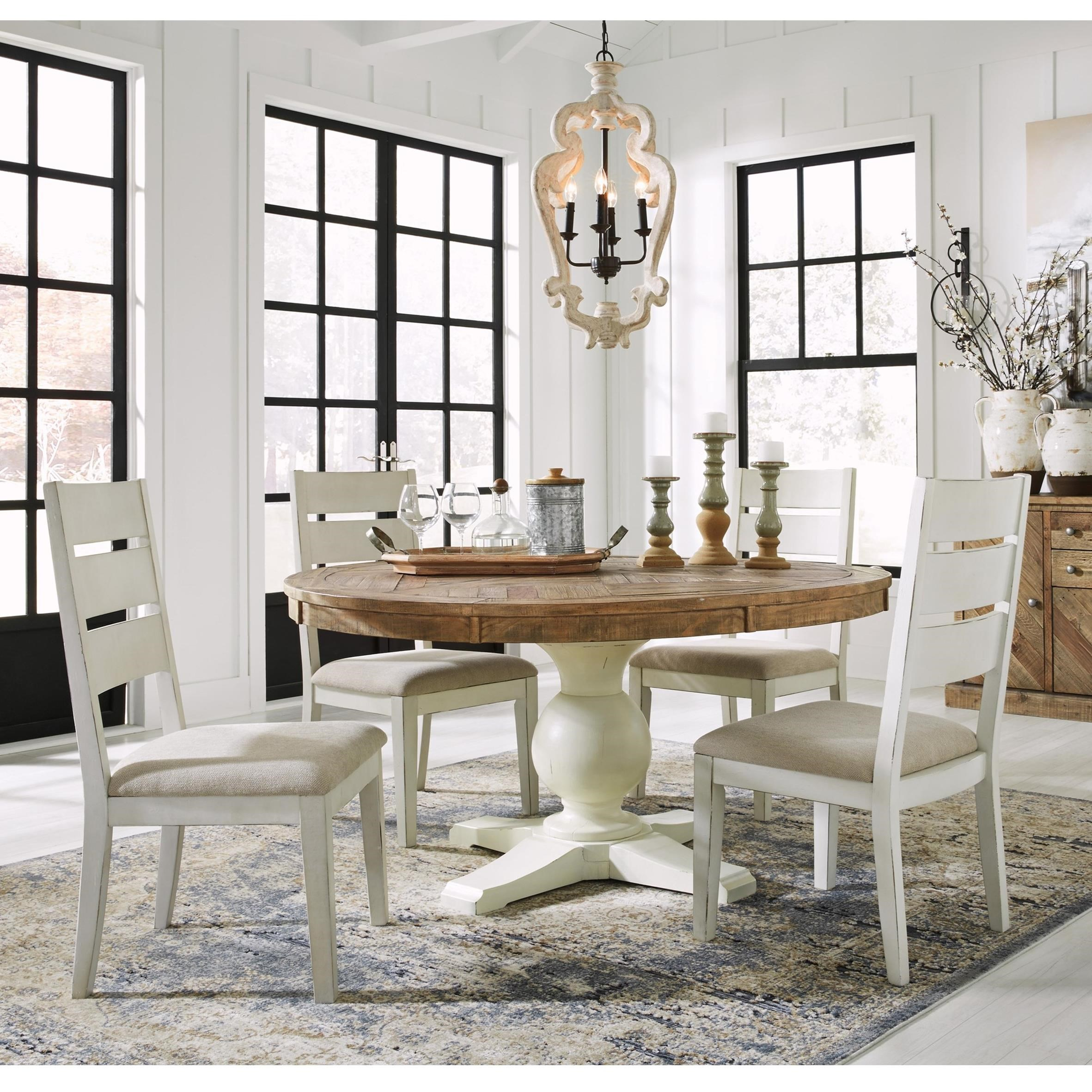 Grindleburg Dining Room Table Round: Grindleburg 5 Piece Round Table And Chair Set