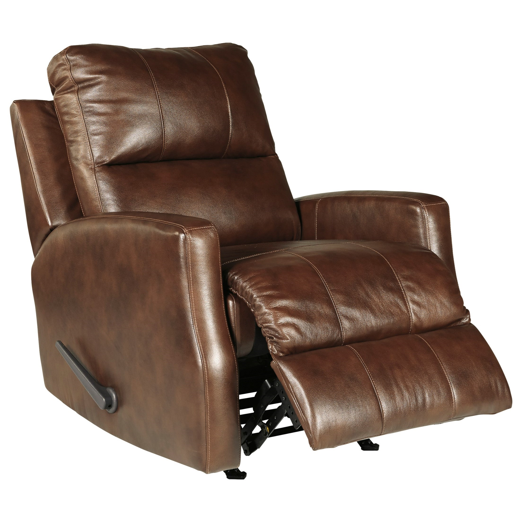 Signature Design By Ashley Gulfbay Leather Match Rocker Recliner With Track Arms Royal