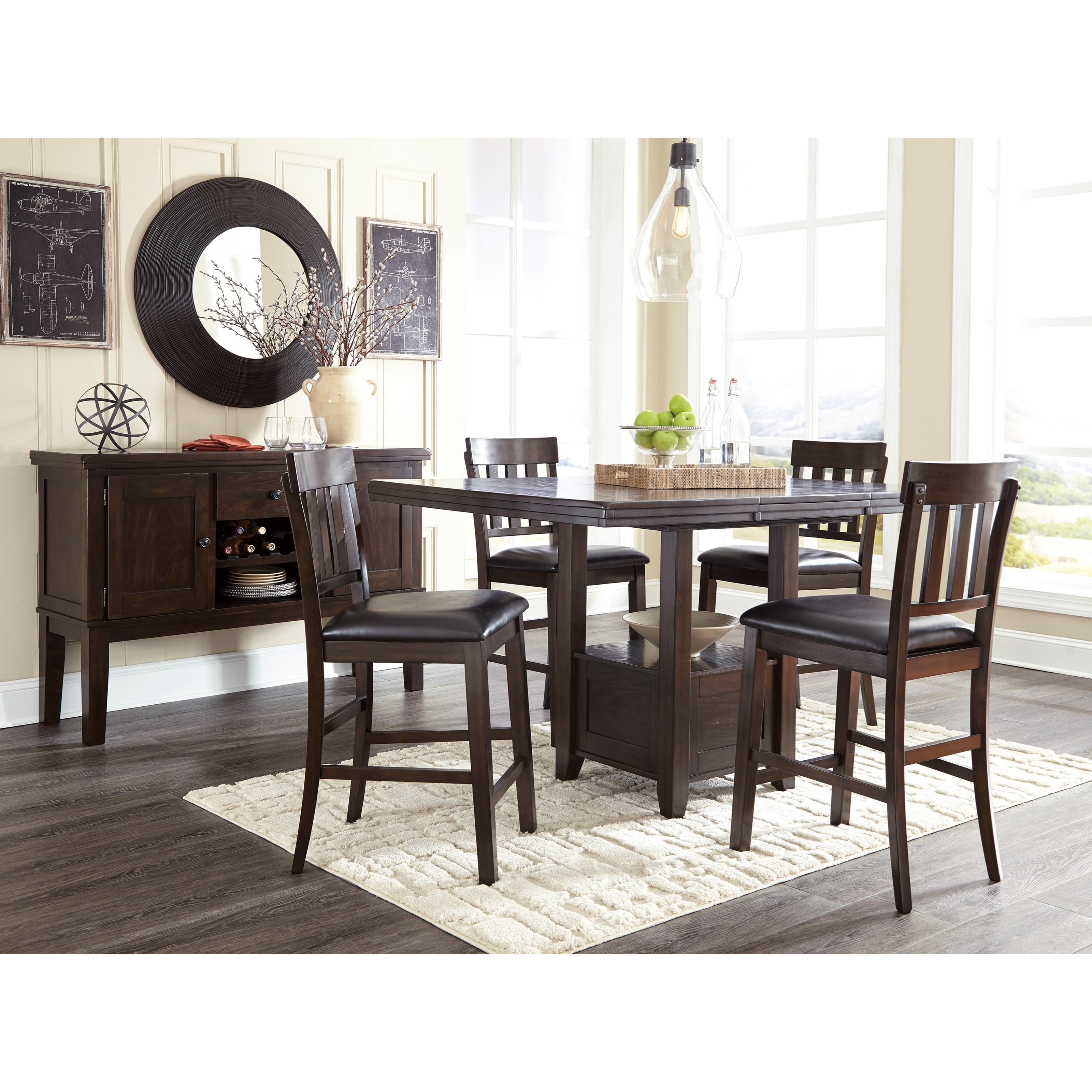 Signature Design by Ashley Haddigan Upholstered Barstool with Slat Back u0026 Faux Leather Seat ...