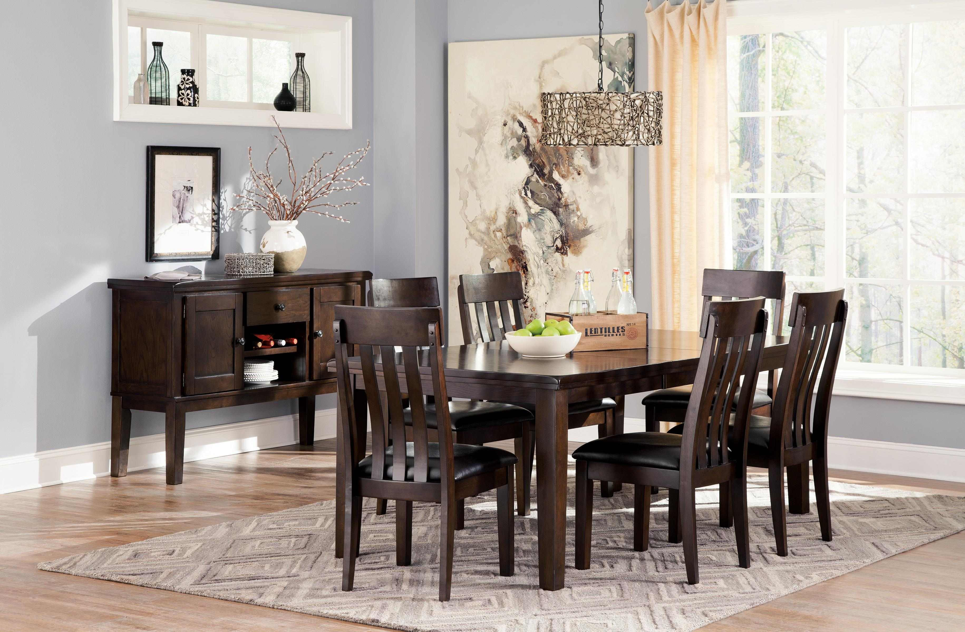 Signature Design By Ashley Haddigan 7-Piece Rectangular Dining Room Table W/ Oak Veneers And
