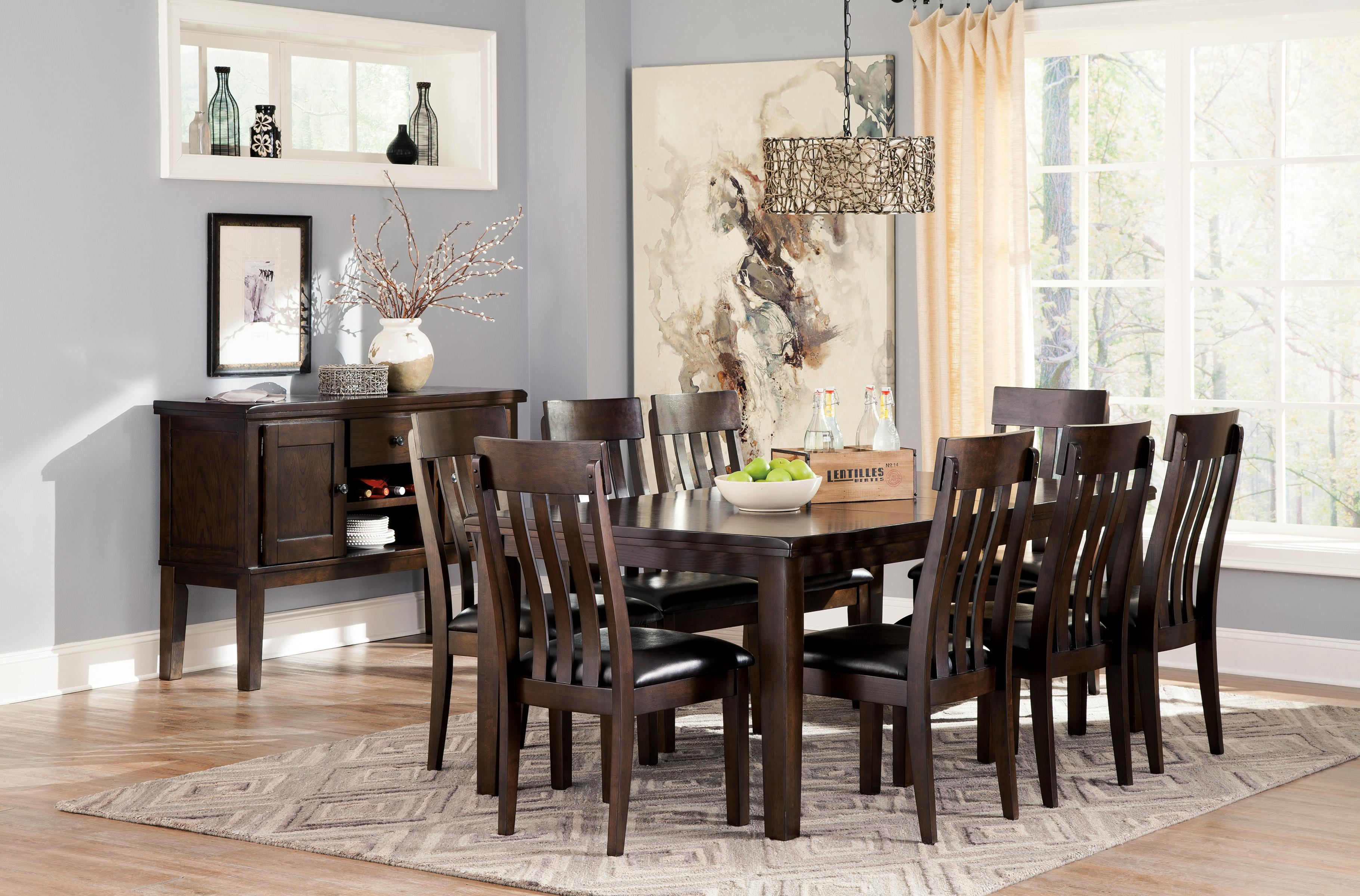 ashley dining room table and chairs signature design haddigan 9 rectangular 8486