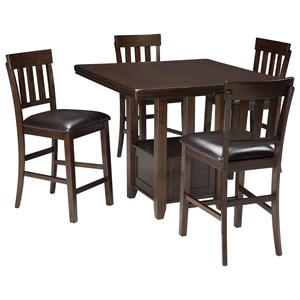 Signature Design by Ashley Haddigan 5-Piece Dining Room Counter Ext Table Set