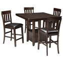 Signature Design by Ashley Haddigan 5-Piece Dining Room Counter Ext Table Set - Item Number: D596-42+4x124