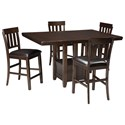 Signature Design by Ashley Haddigan 5-Piece Dining Room Counter Extension Table Set