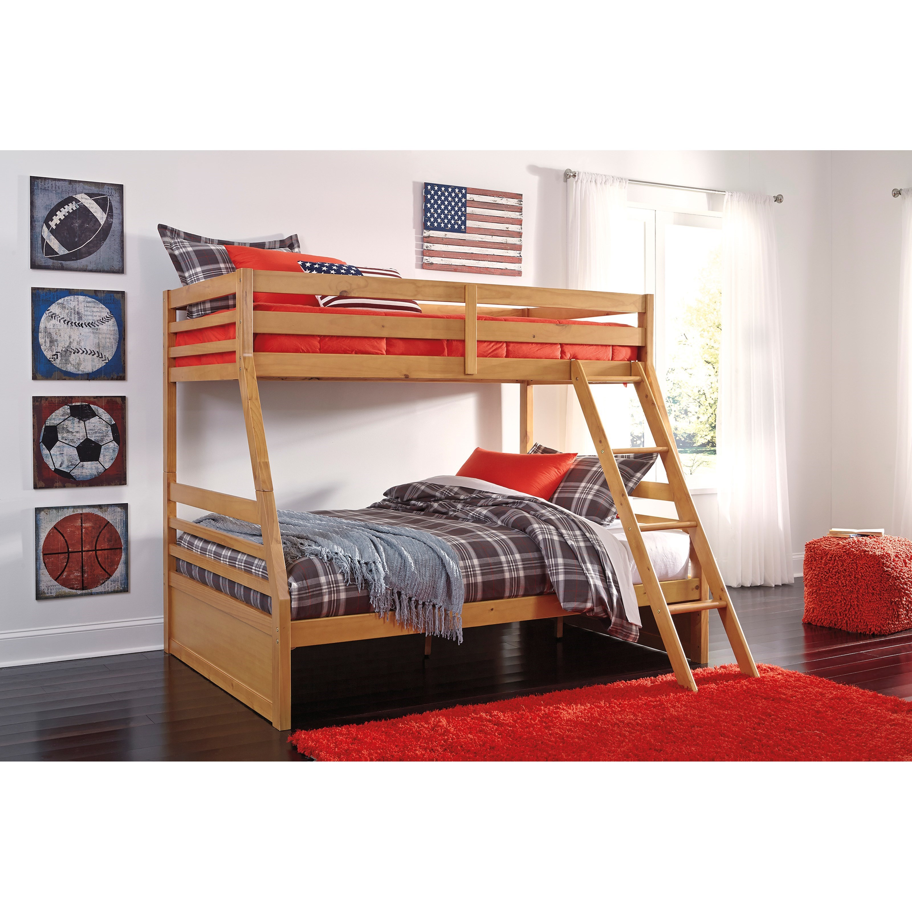 Bunk beds in el paso : Signature design by ashley hallytown solid pine twin full