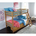 Signature Design by Ashley Hallytown Solid Pine Twin/Twin Bunk Bed w/ Under Bed Storage