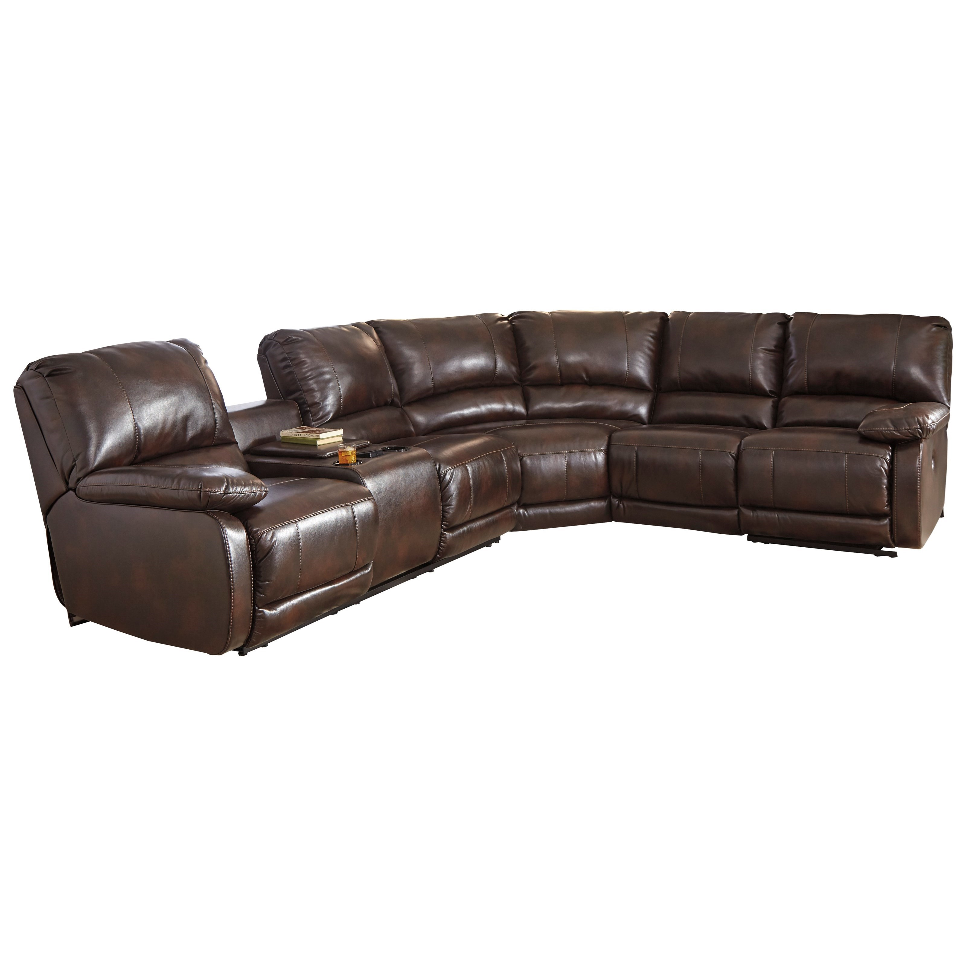 Signature Design By Ashley Hallettsville Power Reclining Sectional With Massage Heat And Cup
