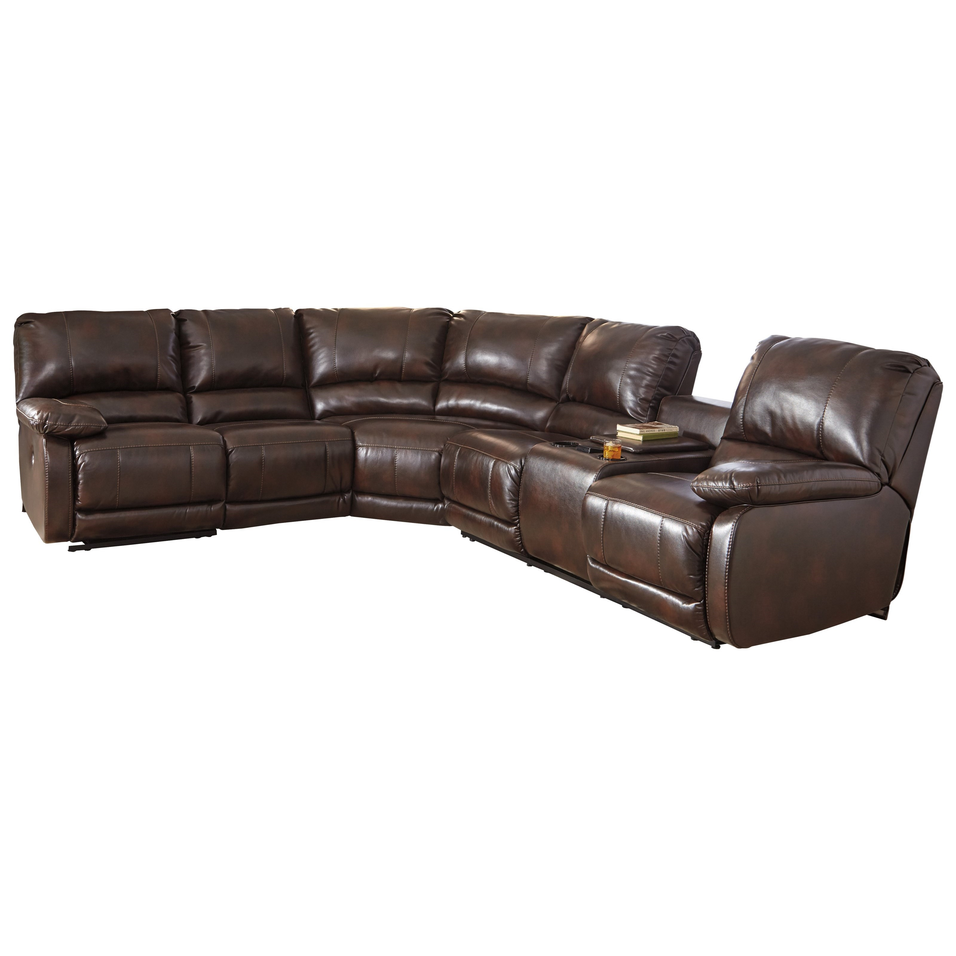 Ashley signature design hallettsville power reclining sectional with massage heat and cup Loveseat with cup holders